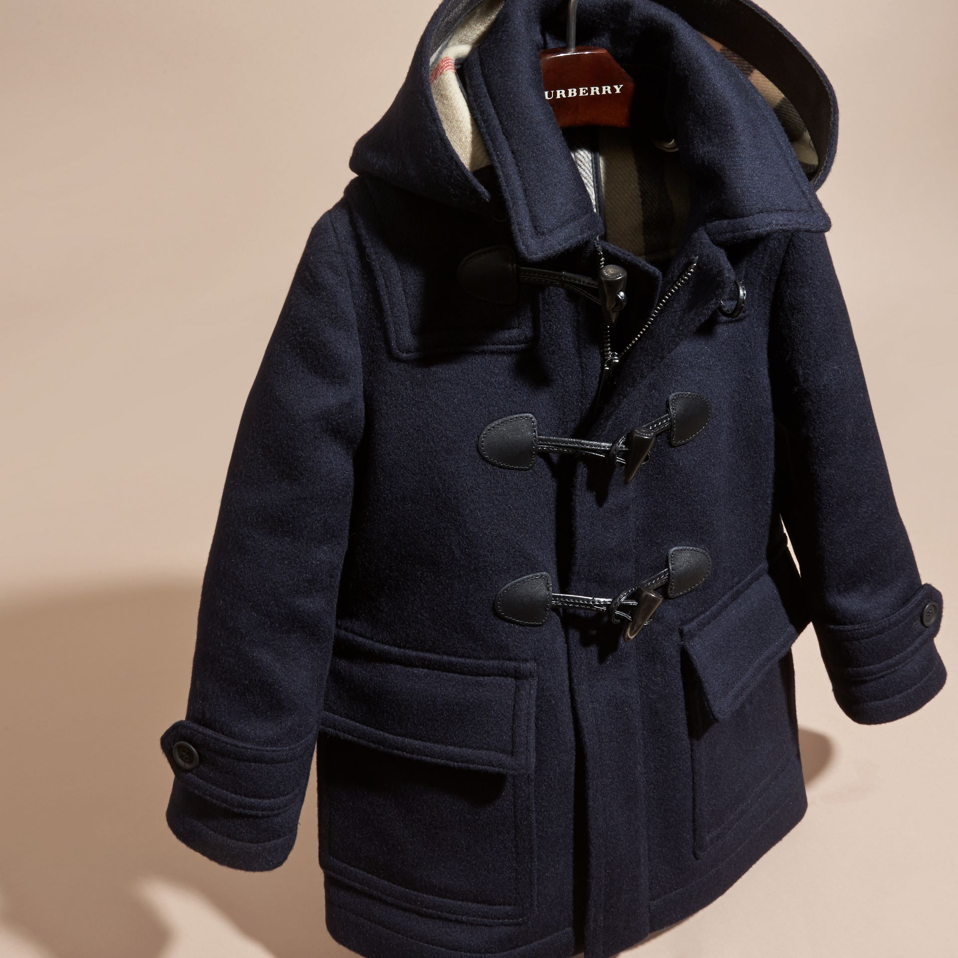 Dark indigo Wool Duffle Coat with Check-lined Hood Dark Indigo - gallery image 3