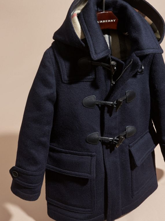 Dark indigo Wool Duffle Coat with Check-lined Hood Dark Indigo - cell image 2