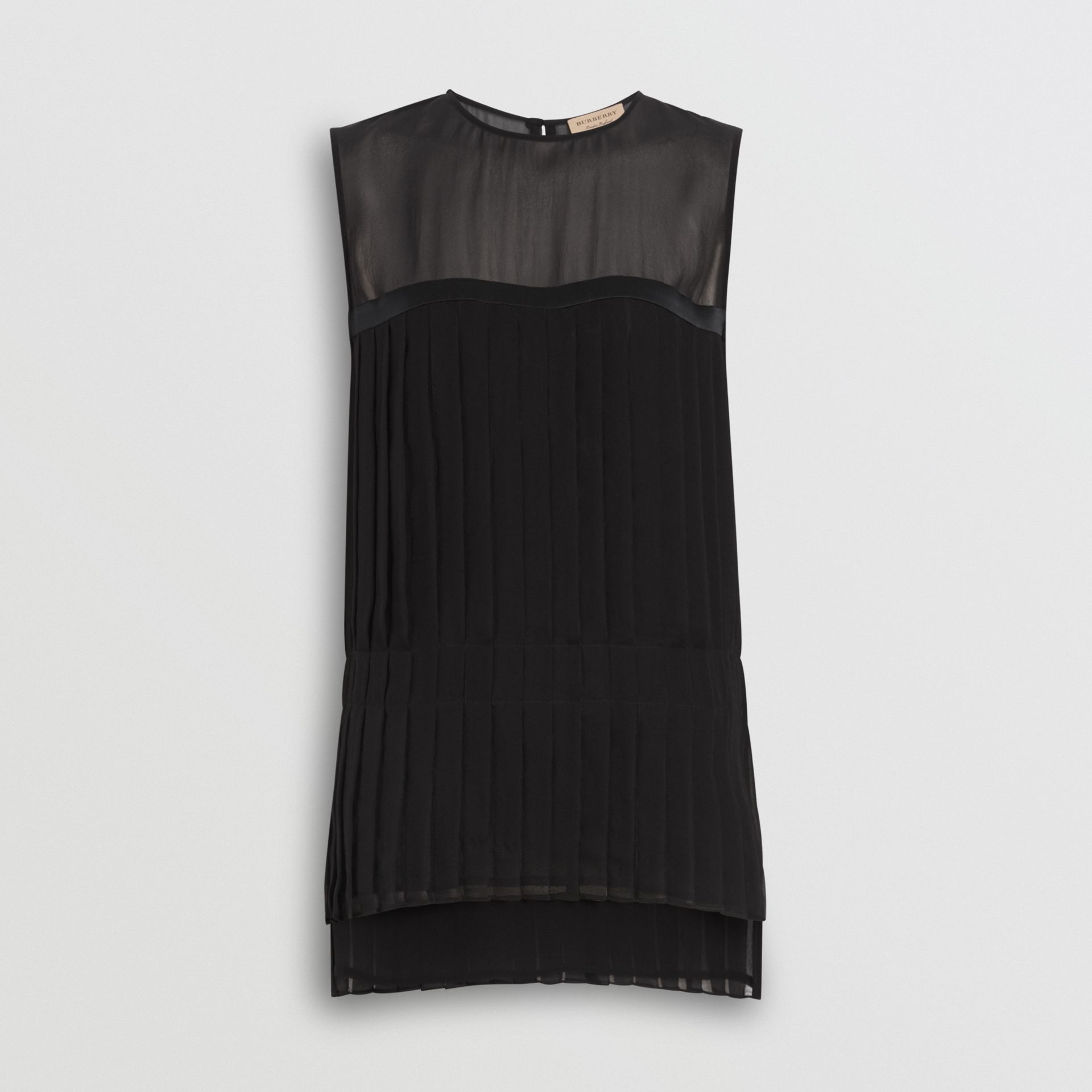 Sleeveless Pleated Silk Georgette Top in Black - Women | Burberry - gallery image 3
