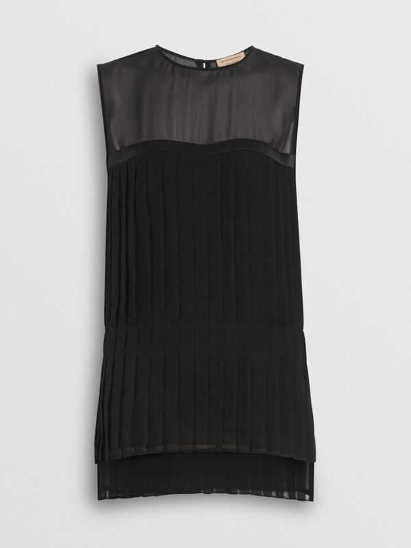 Sleeveless Pleated Silk Georgette Top in Black - Women | Burberry - cell image 3