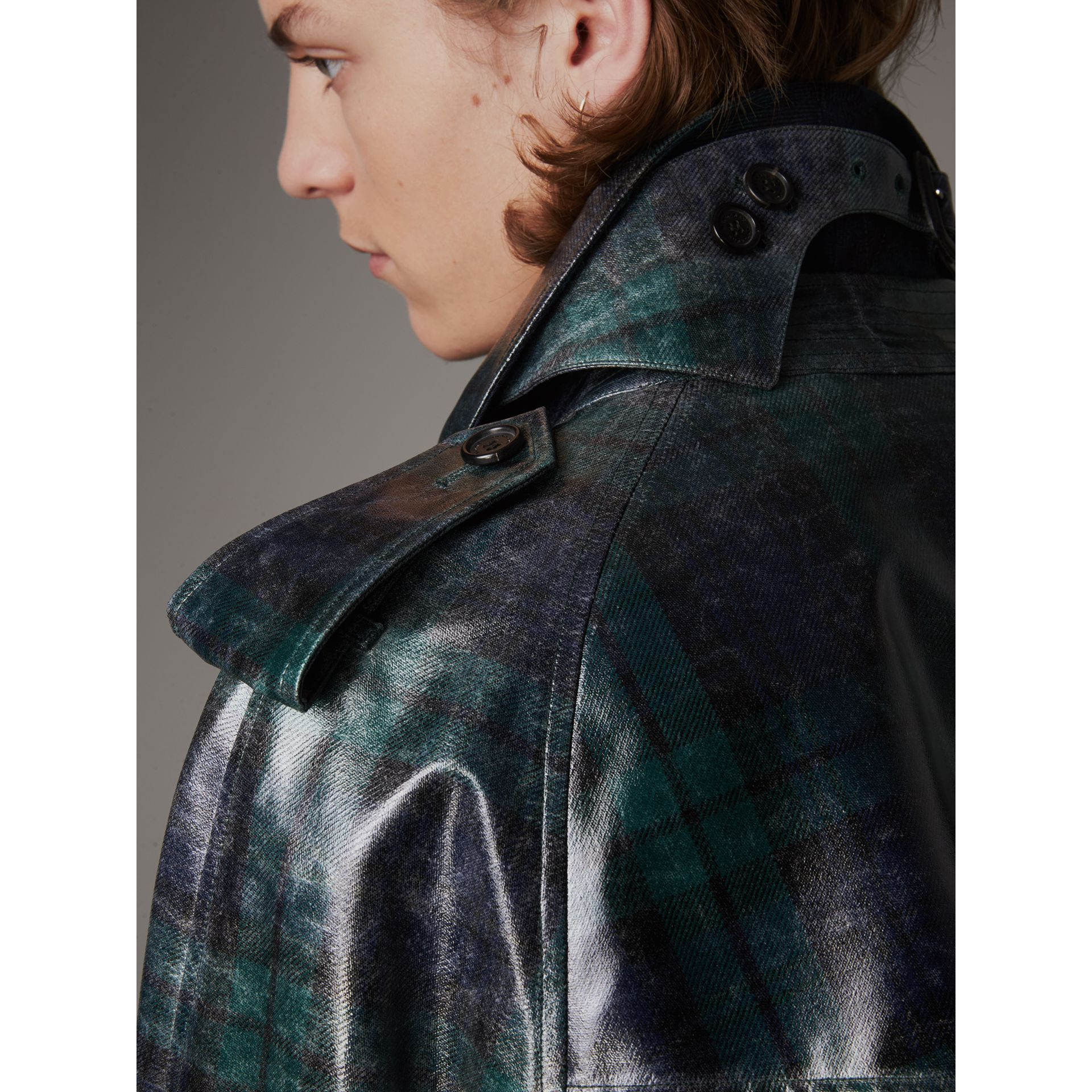 Laminated Tartan Wool Trench Coat in Navy - Men | Burberry United Kingdom - gallery image 6
