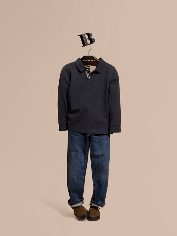 Long-sleeve Cotton Jersey Polo Shirt in True Navy - Boy | Burberry