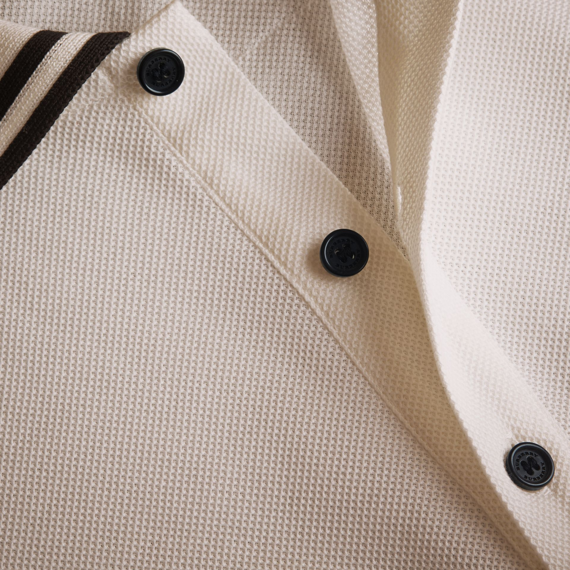 Striped Collar Cotton Piqué Polo Shirt in White - Men | Burberry - gallery image 2