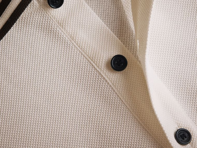 Striped Collar Cotton Piqué Polo Shirt in White - Men | Burberry - cell image 1