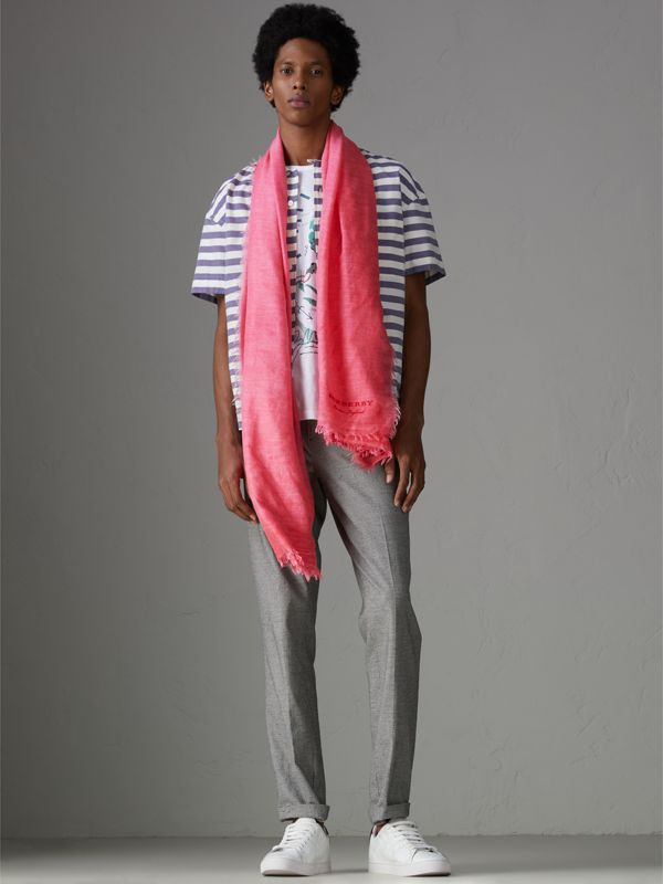 Embroidered Cashmere Cotton Scarf in Bright Coral Pink | Burberry United Kingdom - cell image 3