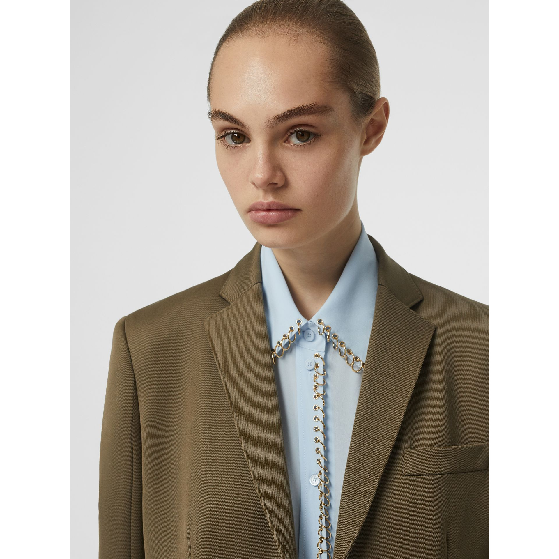 Press-stud Wool Twill Tailored Jacket in Warm Taupe - Women | Burberry - gallery image 5