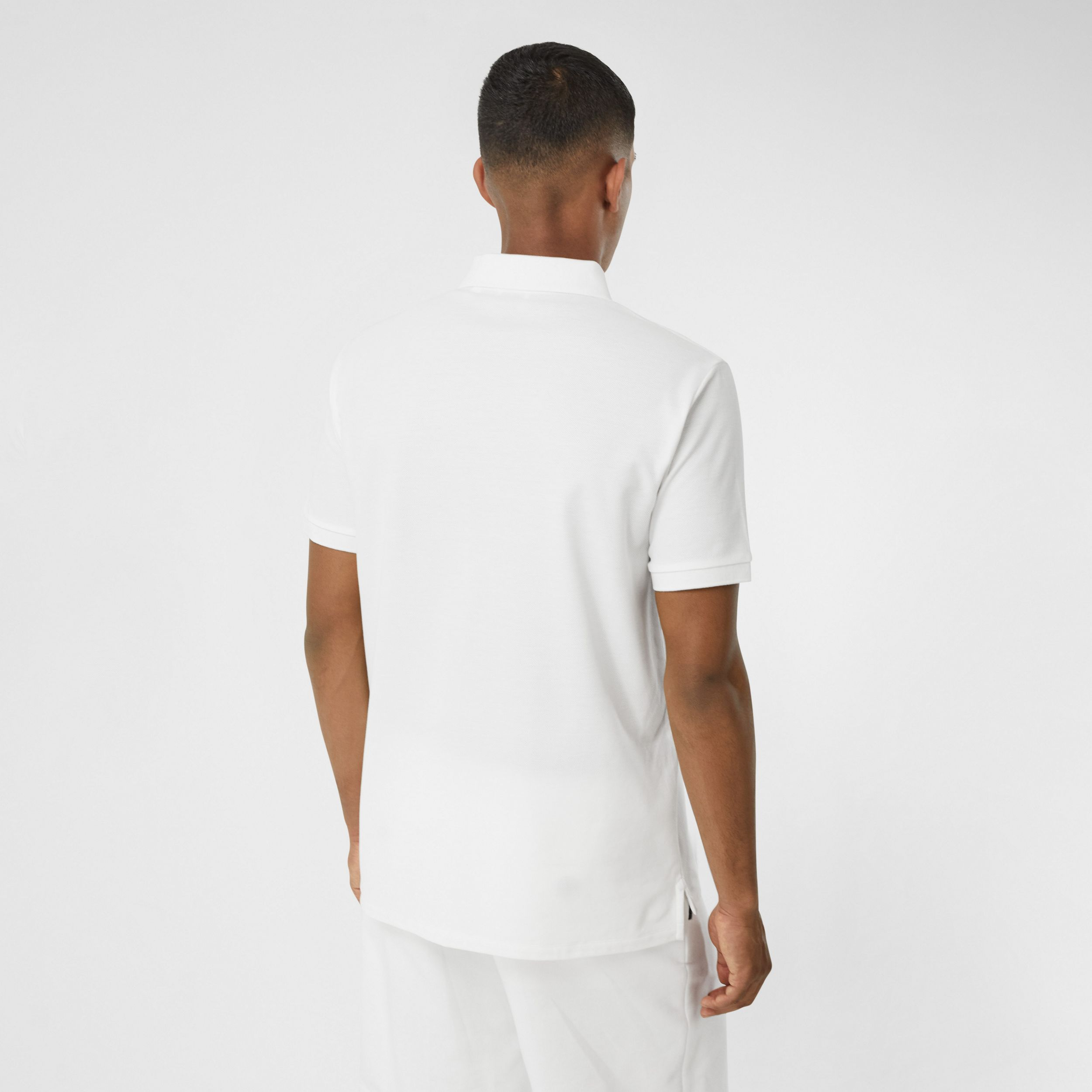 Swan Print Cotton Polo Shirt in White - Men | Burberry - 3