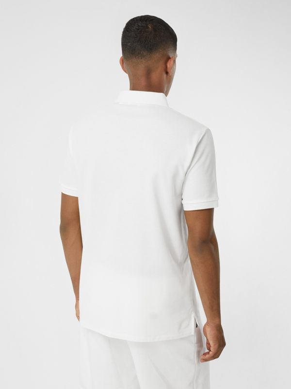 Swan Print Cotton Polo Shirt in White - Men | Burberry United Kingdom - cell image 2