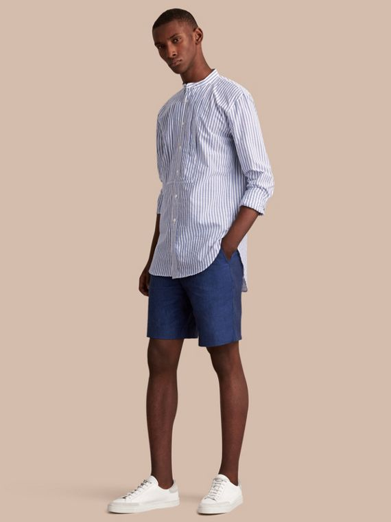 Lightweight Linen Shorts in Steel Blue - Men | Burberry Australia