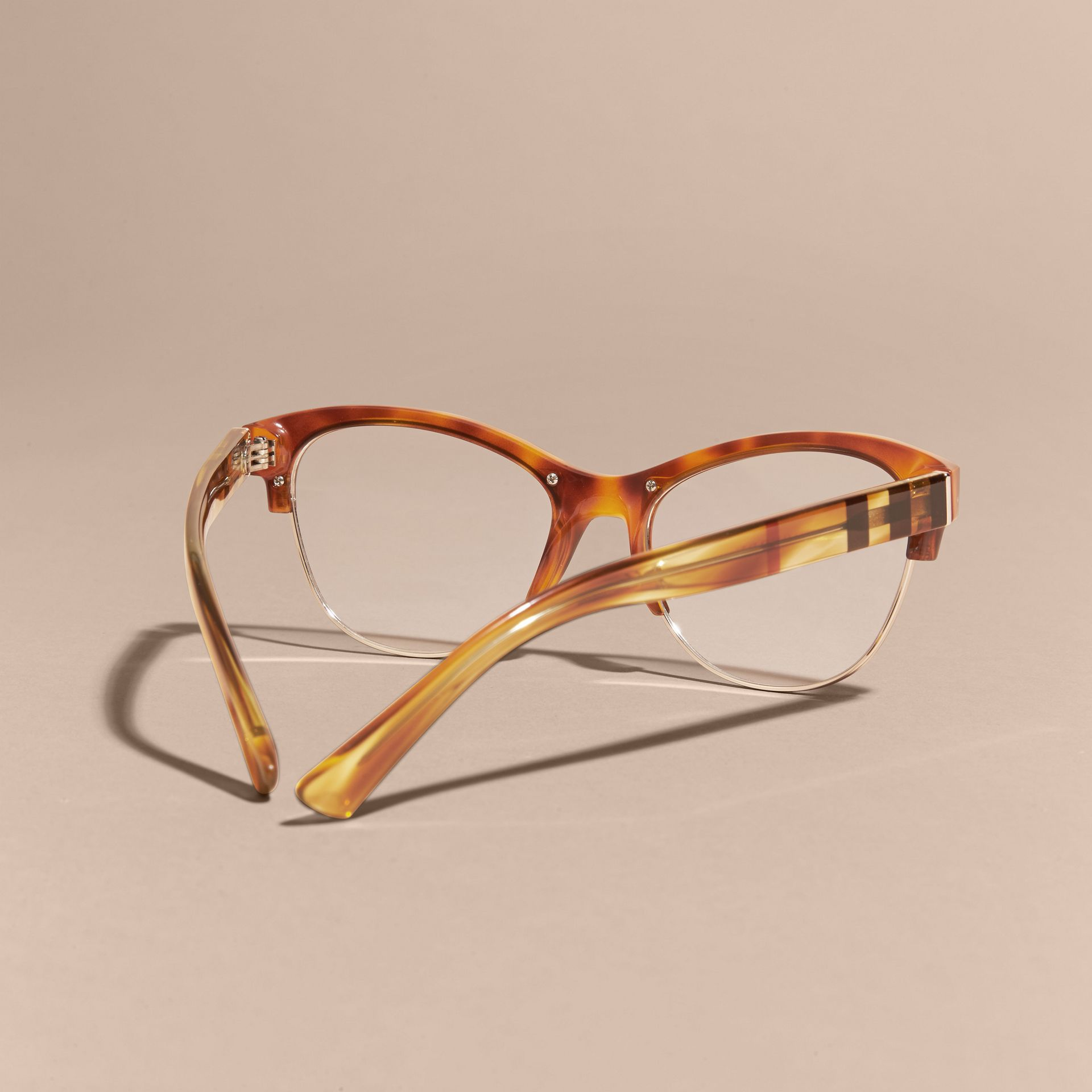 Half-rimmed Cat-eye Optical Frames in Light Russet Brown - gallery image 4