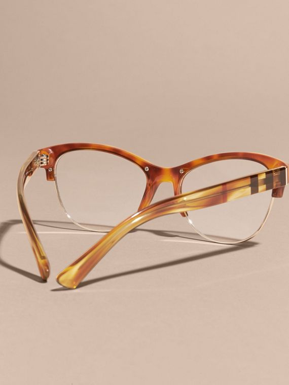 Half-rimmed Cat-eye Optical Frames Light Russet Brown - cell image 3