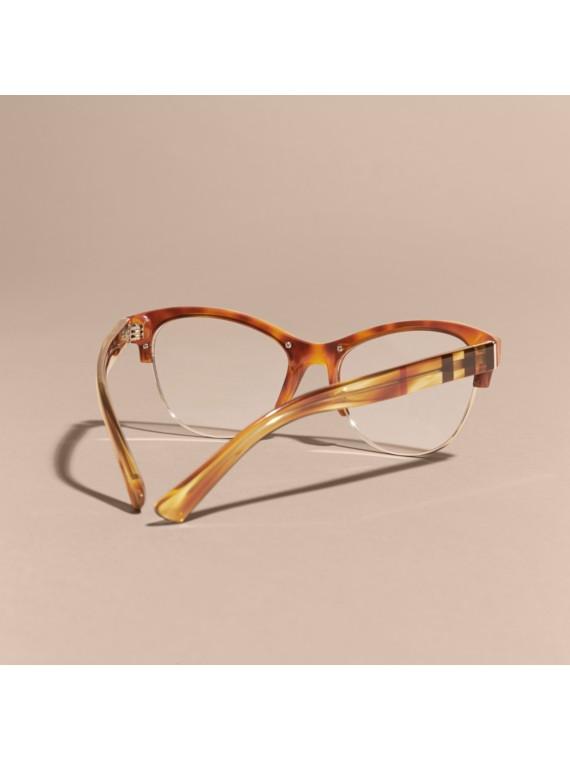 Half-rimmed Cat-eye Optical Frames Light Russet Brown ...