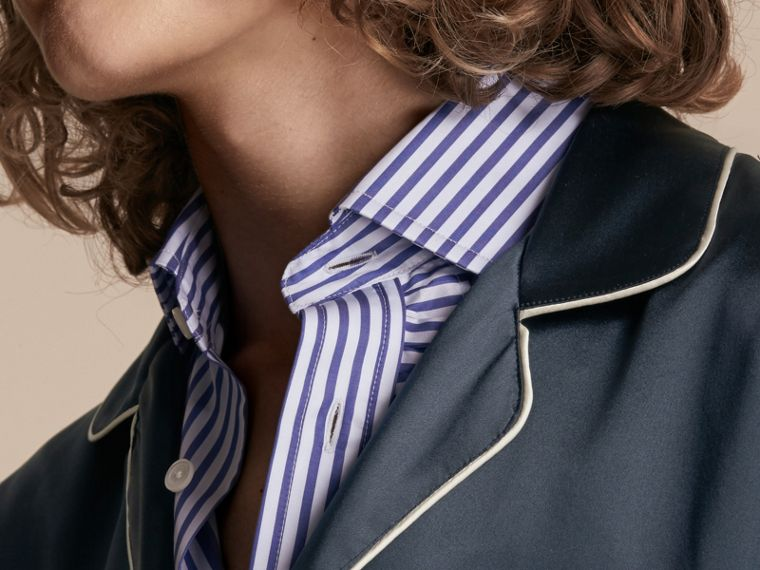 Navy Camicia in seta in stile pigiama - cell image 4