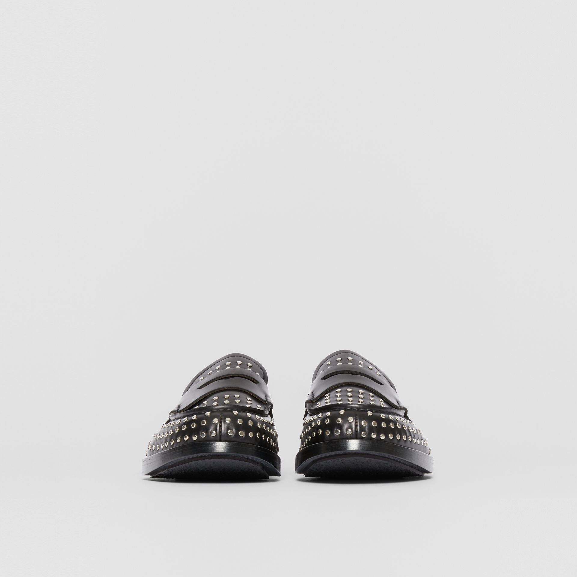 D-ring Detail Studded Leather Loafers in Black - Men | Burberry - gallery image 3
