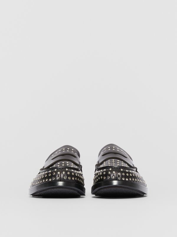 D-ring Detail Studded Leather Loafers in Black - Men | Burberry United Kingdom - cell image 3