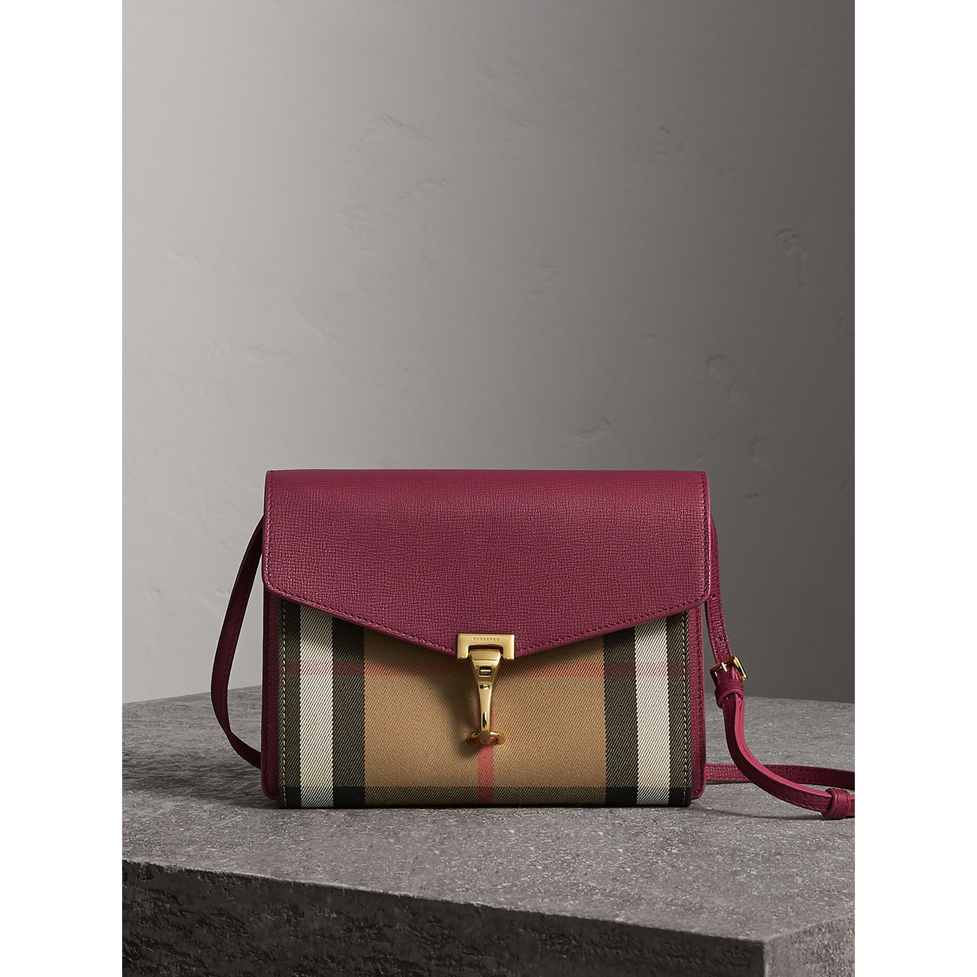 Small Leather and House Check Crossbody Bag in Berry Pink - Women | Burberry - gallery image 0