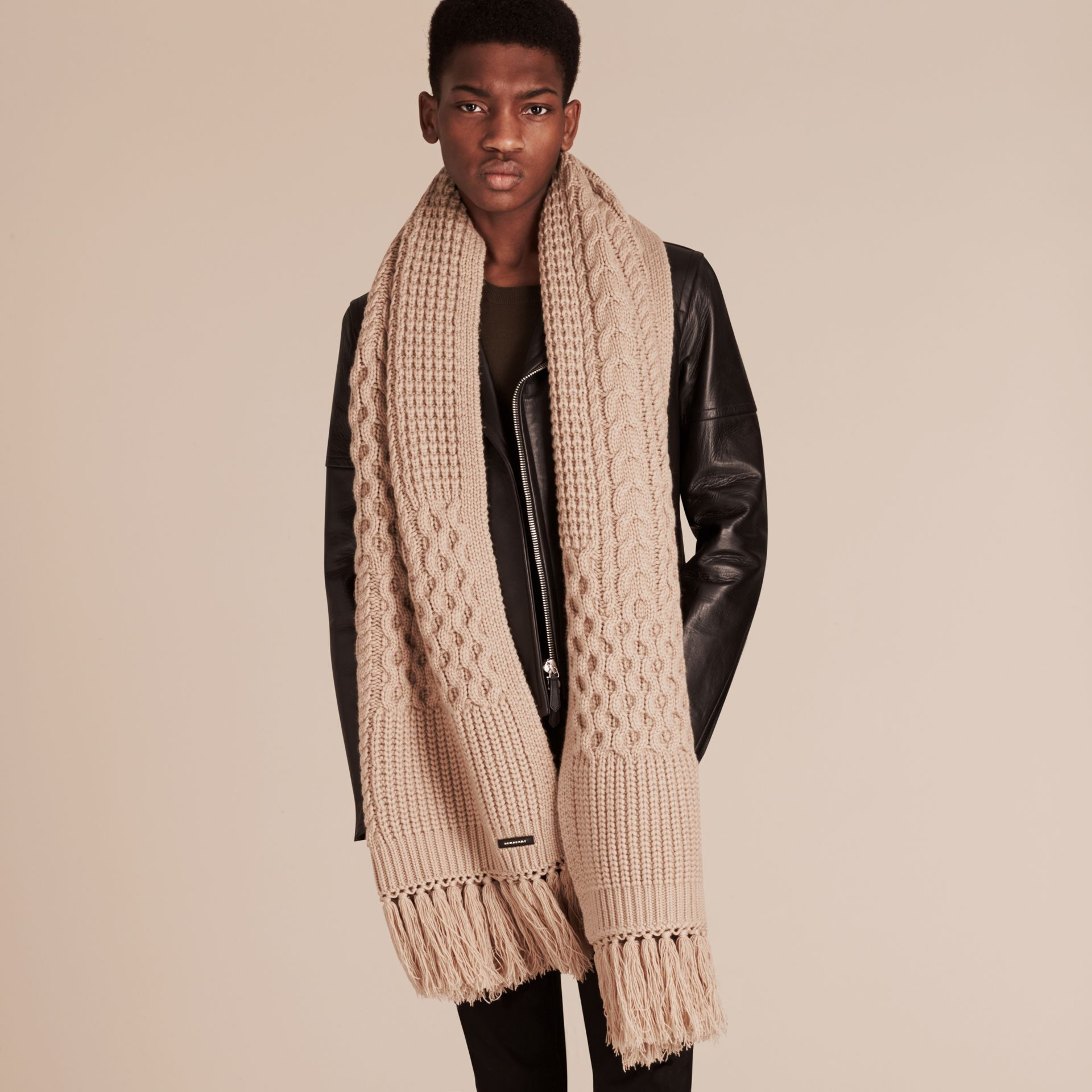 Camel Oversize Aran Knit Wool Cashmere Scarf Camel - gallery image 3