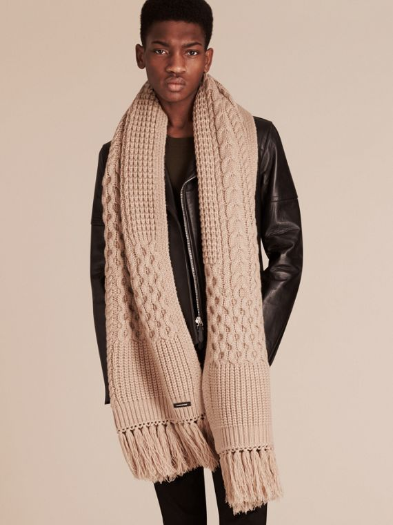Camel Oversize Aran Knit Wool Cashmere Scarf Camel - cell image 2