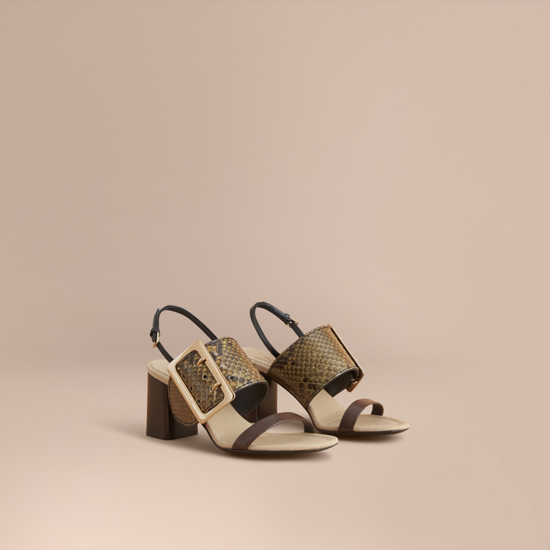 Python and Leather Sandals with Buckle Detail - Women | Burberry - gallery image 1