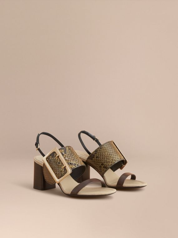Python and Leather Sandals with Buckle Detail