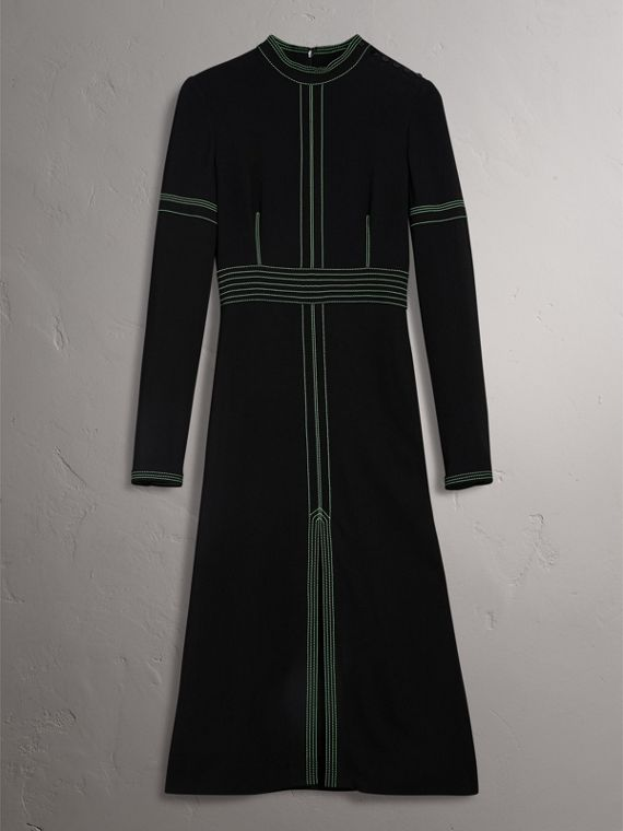Topstitch Detail Crepe High-neck Dress in Black - Women | Burberry United Kingdom - cell image 3