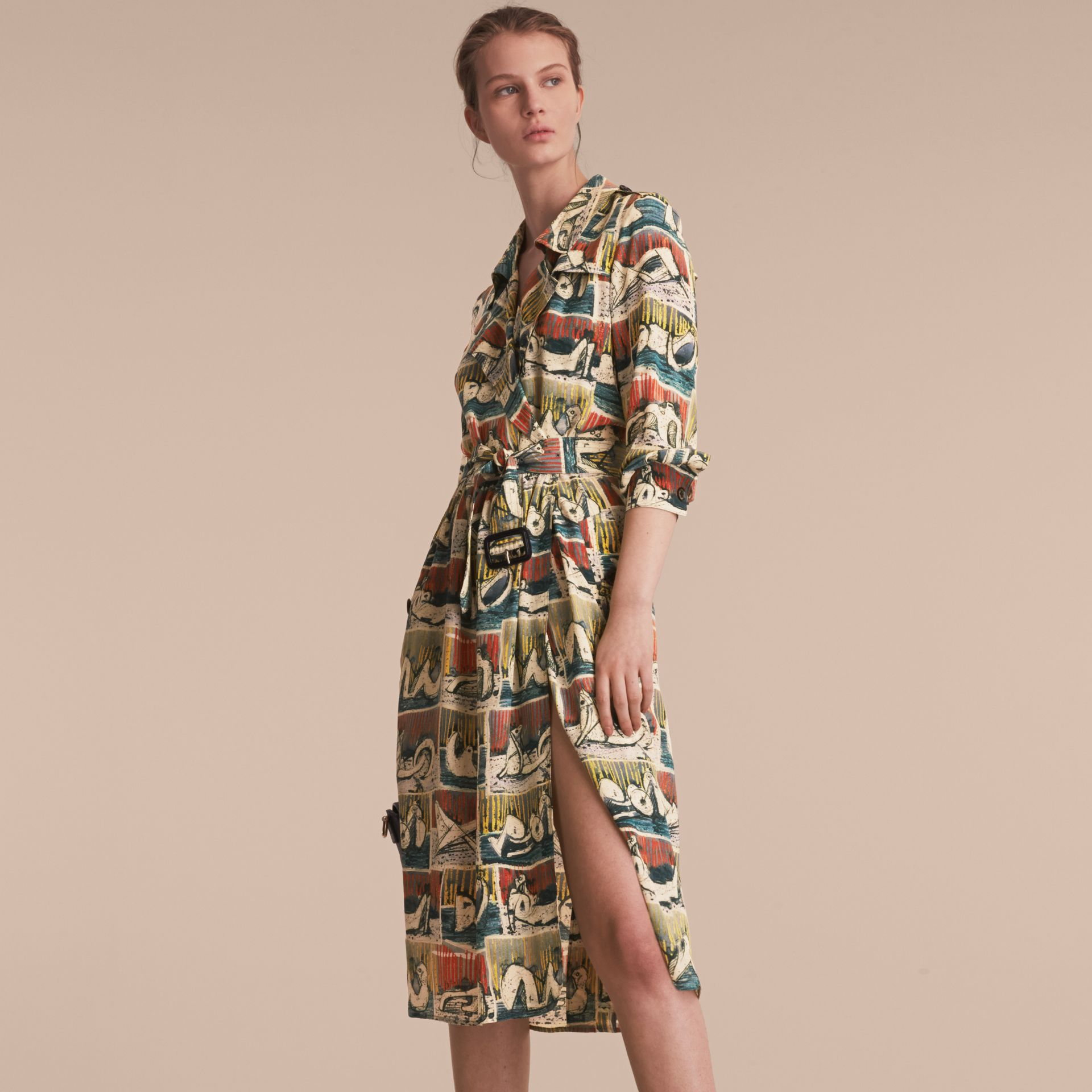 Silk Wrap Trench Dress with Reclining Figures Print in Stone Blue - Women | Burberry United Kingdom - gallery image 6