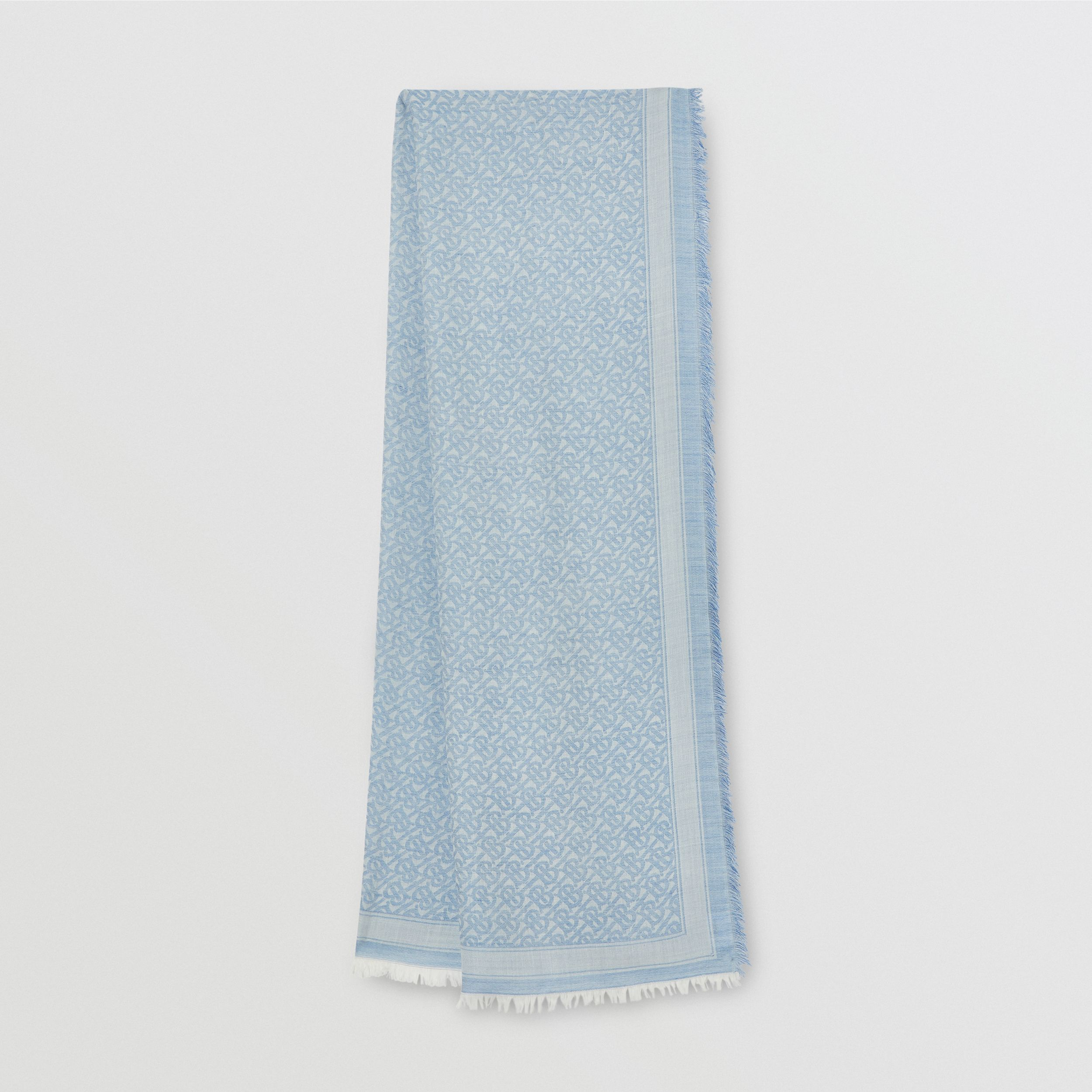 Monogram Wool Silk Jacquard Scarf in Denim Blue | Burberry - 1