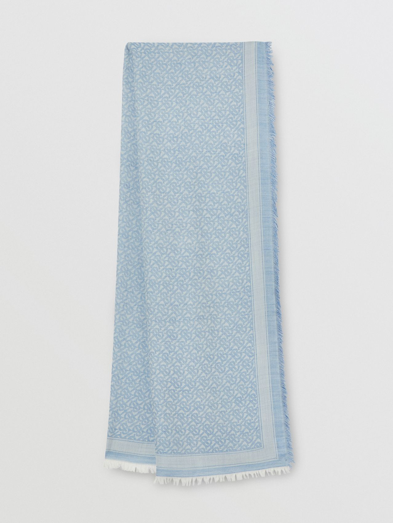 Monogram Wool Silk Jacquard Scarf in Denim Blue