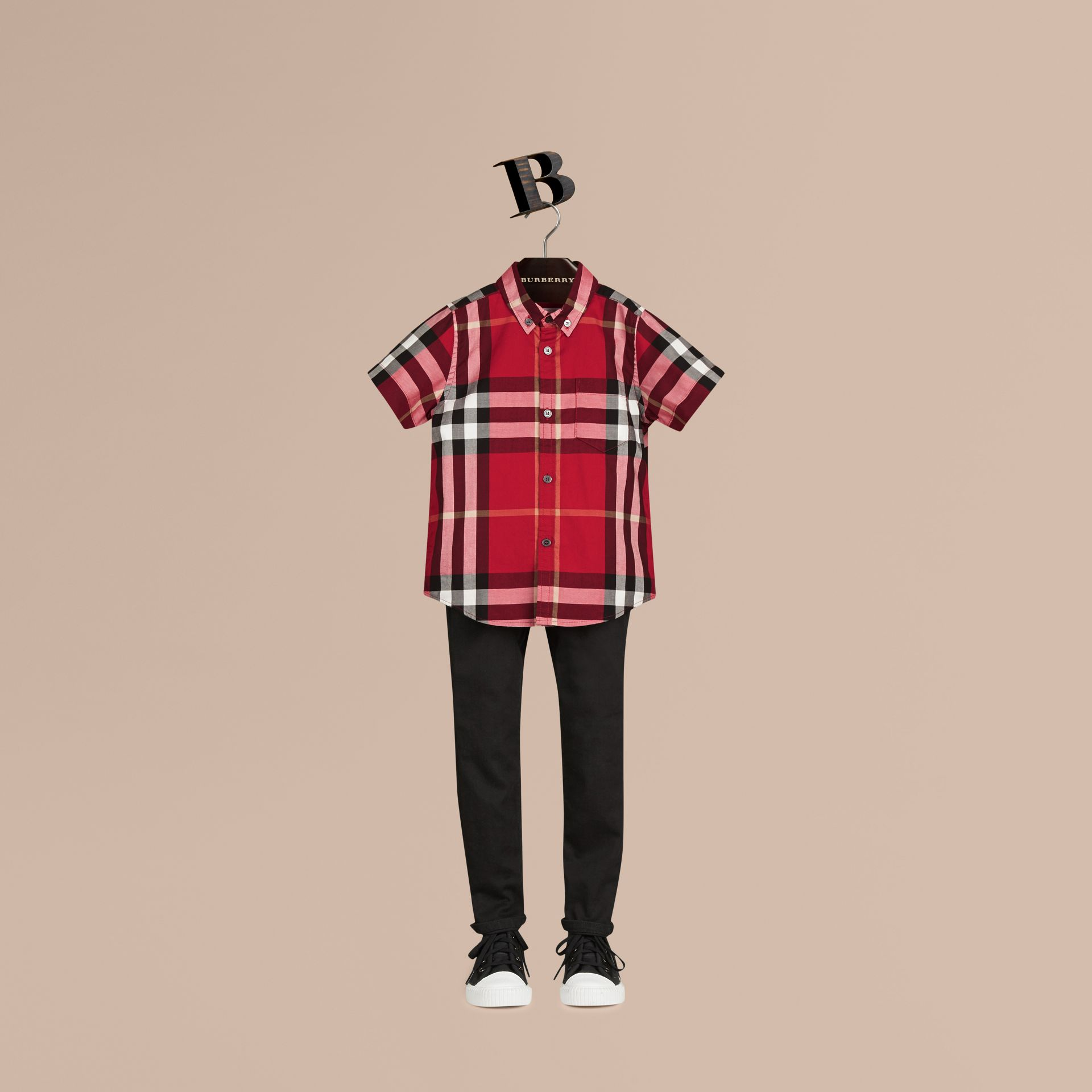 Short-sleeve Check Cotton Twill Shirt in Parade Red - gallery image 1