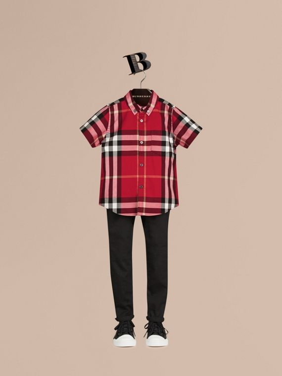 Short-sleeve Check Cotton Twill Shirt Parade Red