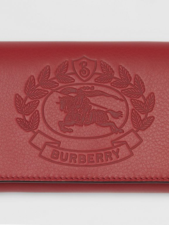 Embossed Crest Two-tone Leather Continental Wallet in Crimson - Women | Burberry United States - cell image 1