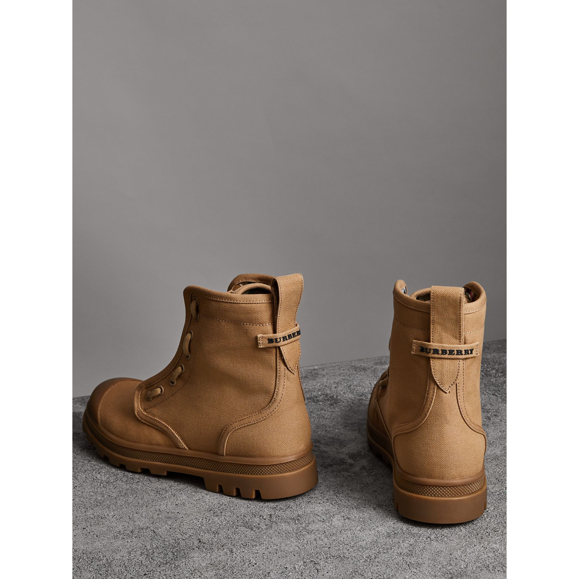 Zipped Cotton Canvas Boots in Mid Camel - Men | Burberry - gallery image 2