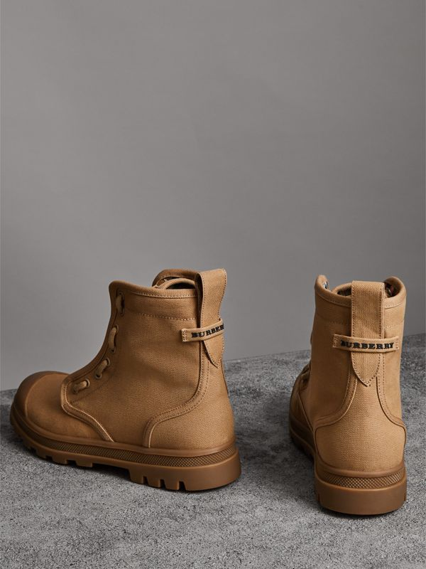 Zipped Cotton Canvas Boots in Mid Camel - Men | Burberry - cell image 2