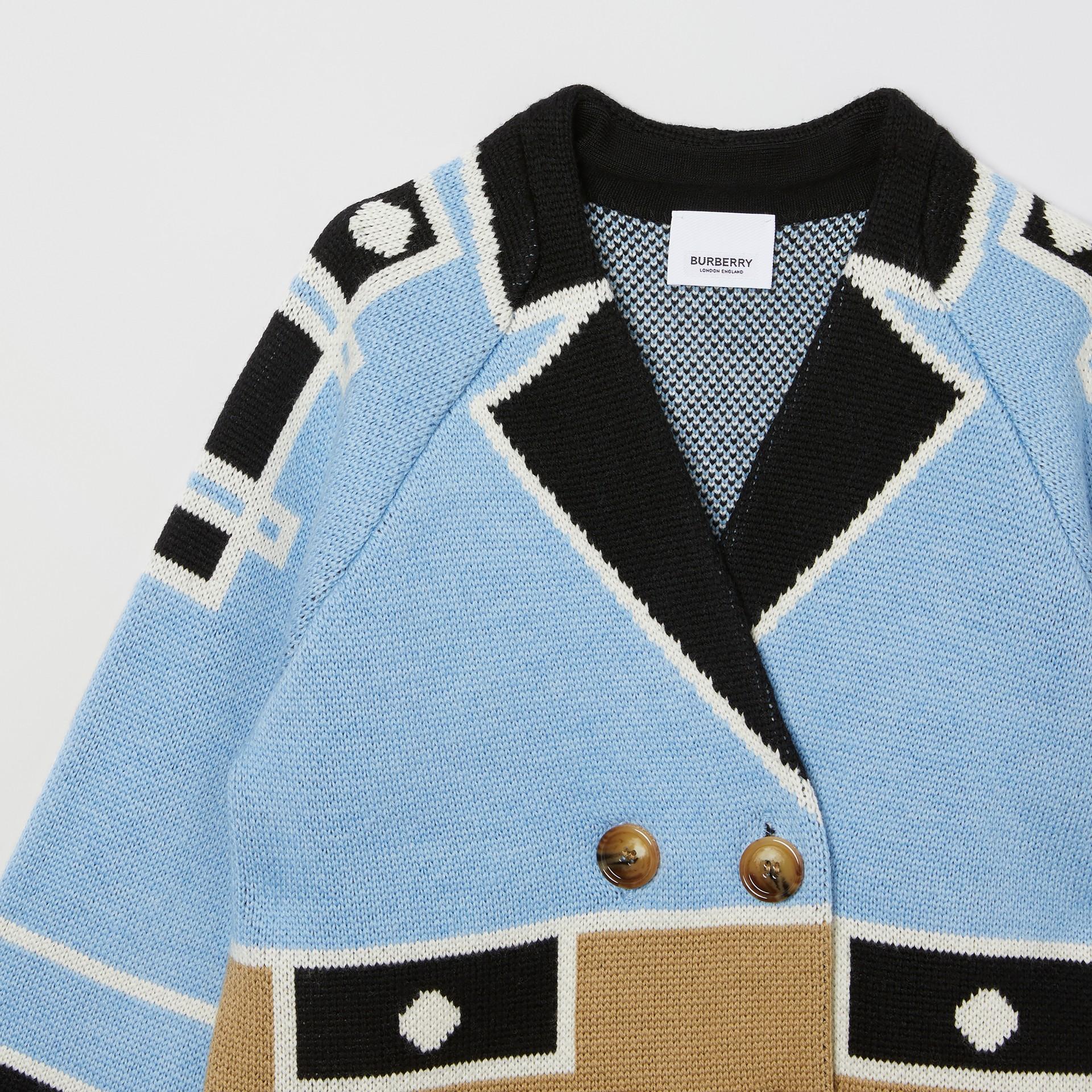 Trompe L'Oeil Intarsia Wool Coat in Dusty Blue   Burberry United Kingdom - gallery image 4