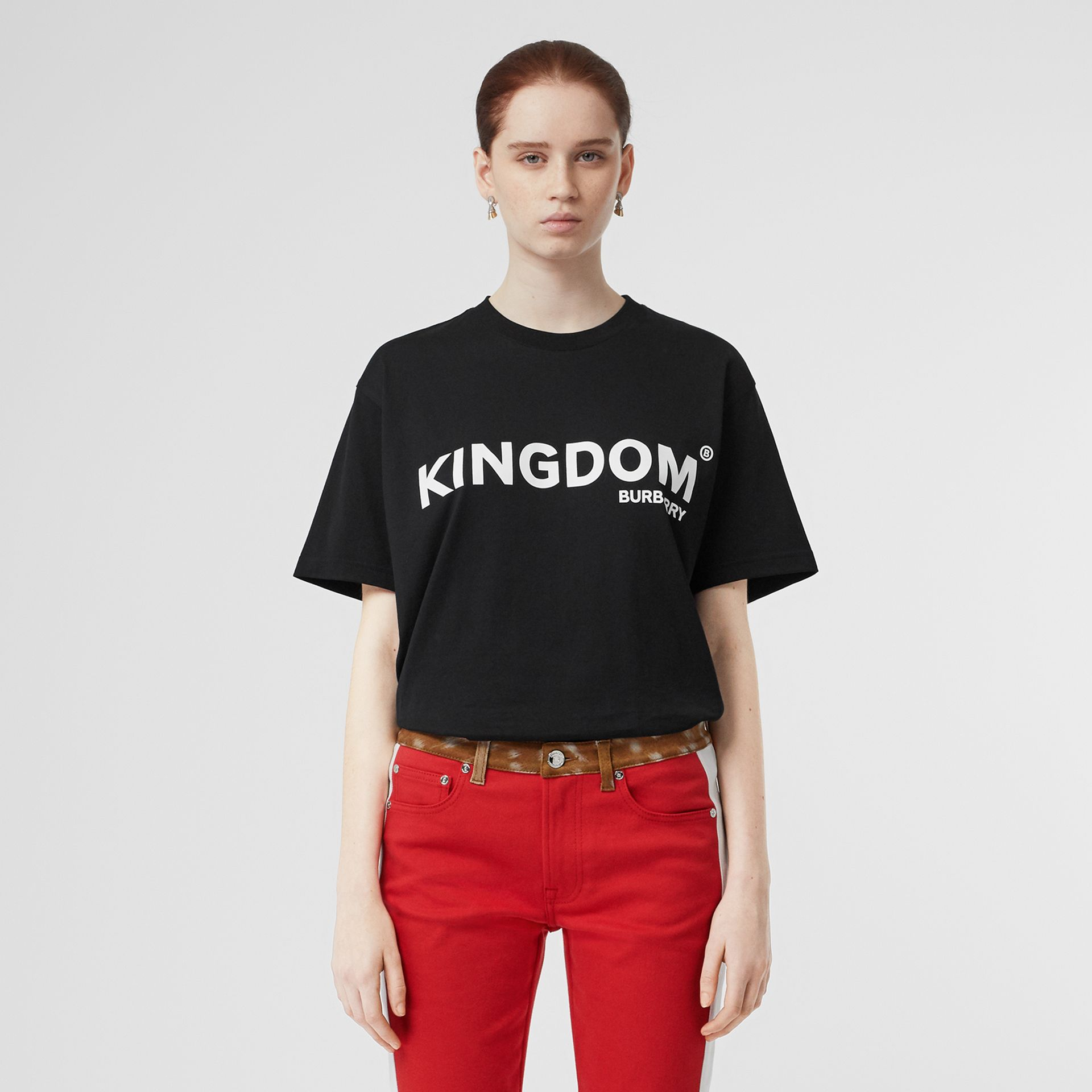 Kingdom Print Cotton Oversized T-shirt in Black - Women | Burberry - gallery image 5