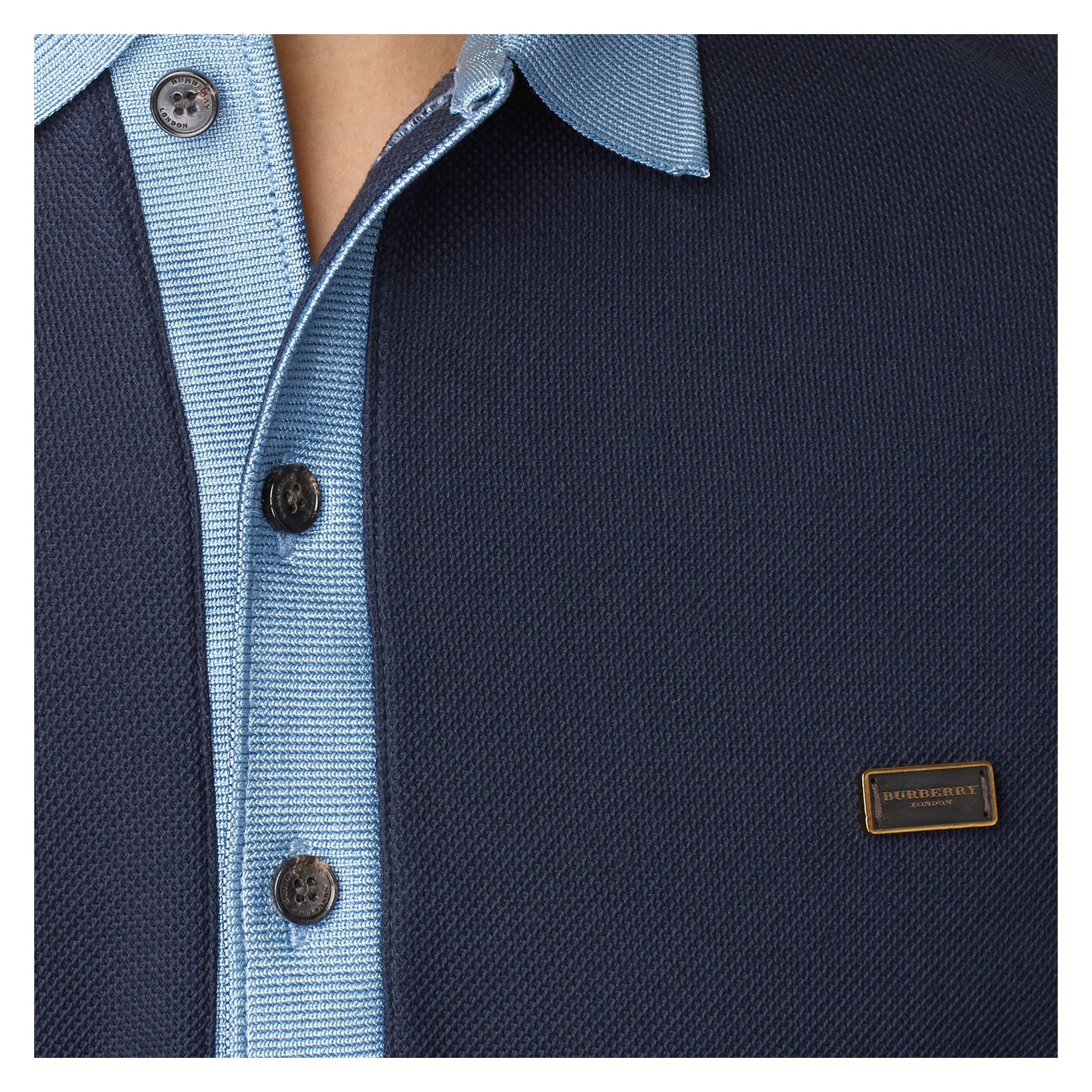 Navy/pale blue Mercerised Cotton Polo Shirt Navy/pale Blue - gallery image 2