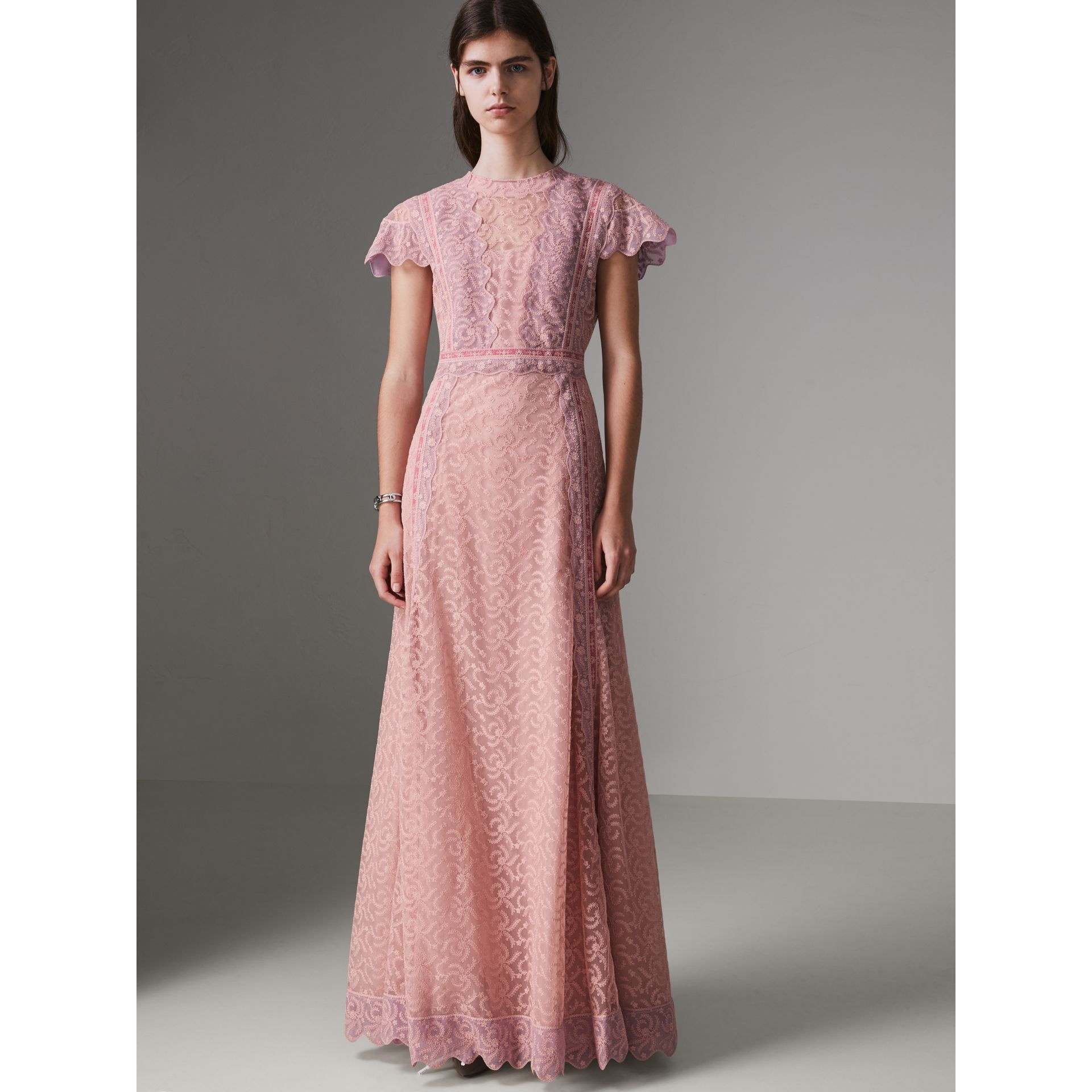 Embroidered Floral Lace and Tulle Dress in Pale Pink - Women | Burberry - gallery image 4