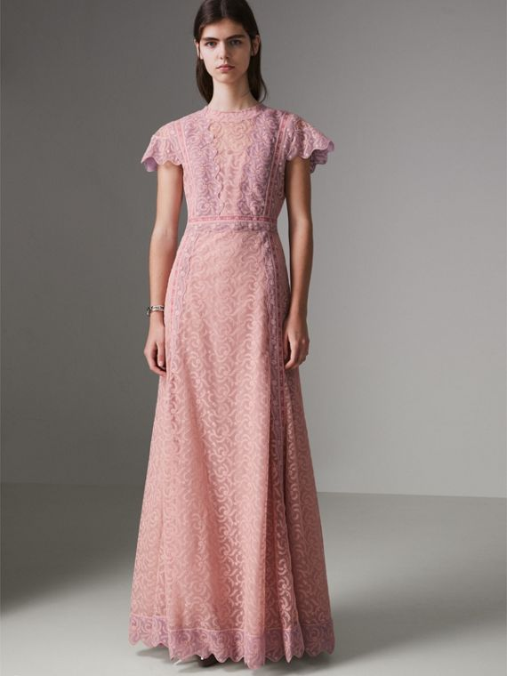 Embroidered Floral Lace and Tulle Dress in Pale Pink