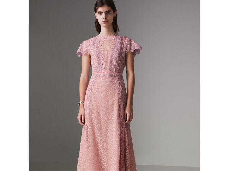 Embroidered Floral Lace and Tulle Dress in Pale Pink - Women | Burberry - cell image 4