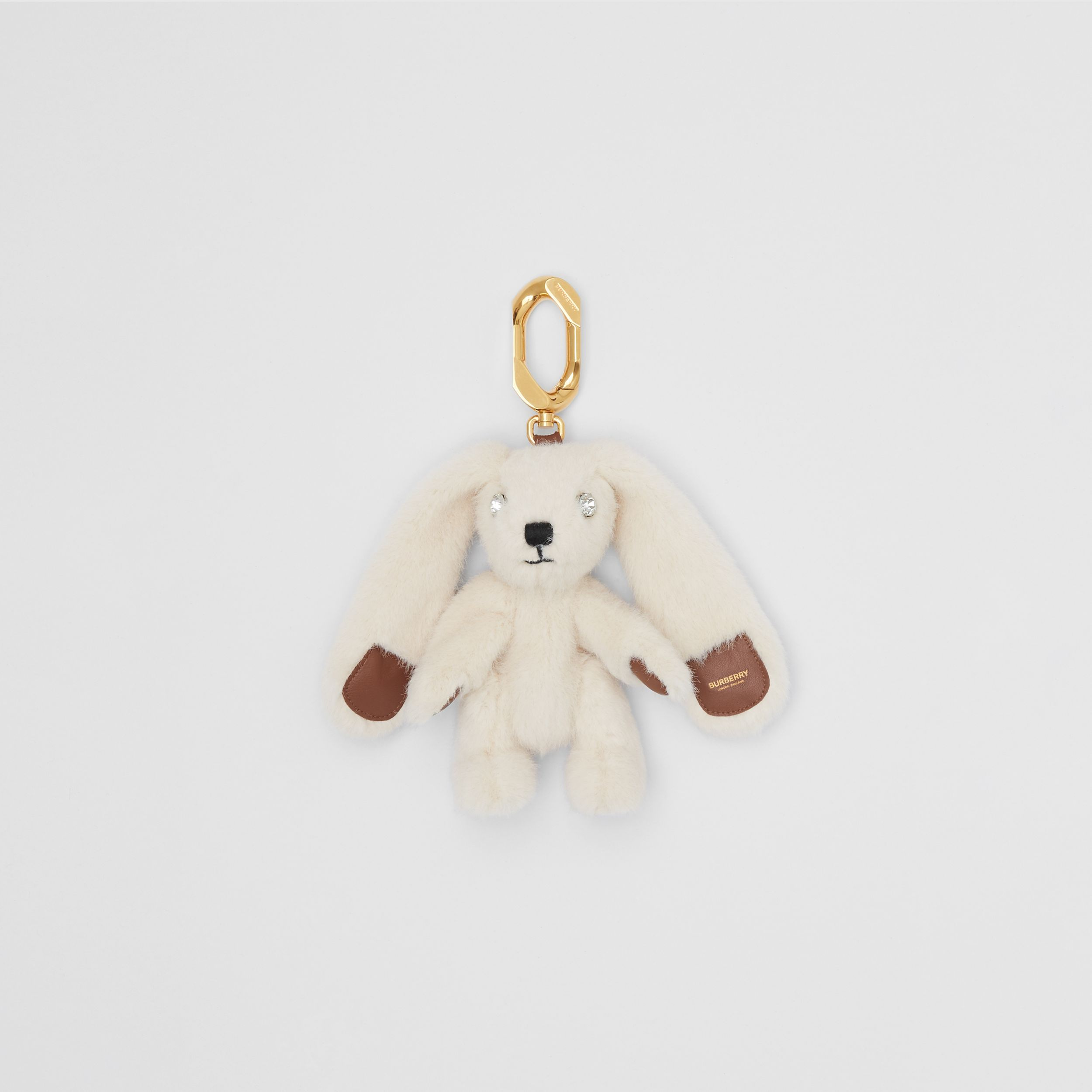 Embellished Faux Fur and Leather Rabbit Charm in Buttermilk | Burberry - 1