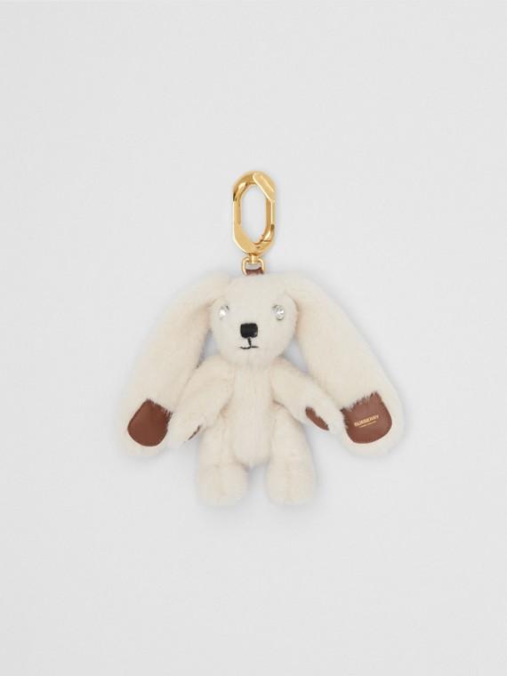 Charm a forma di coniglio in pelliccia sintetica con dettagli in pelle (Latticello)