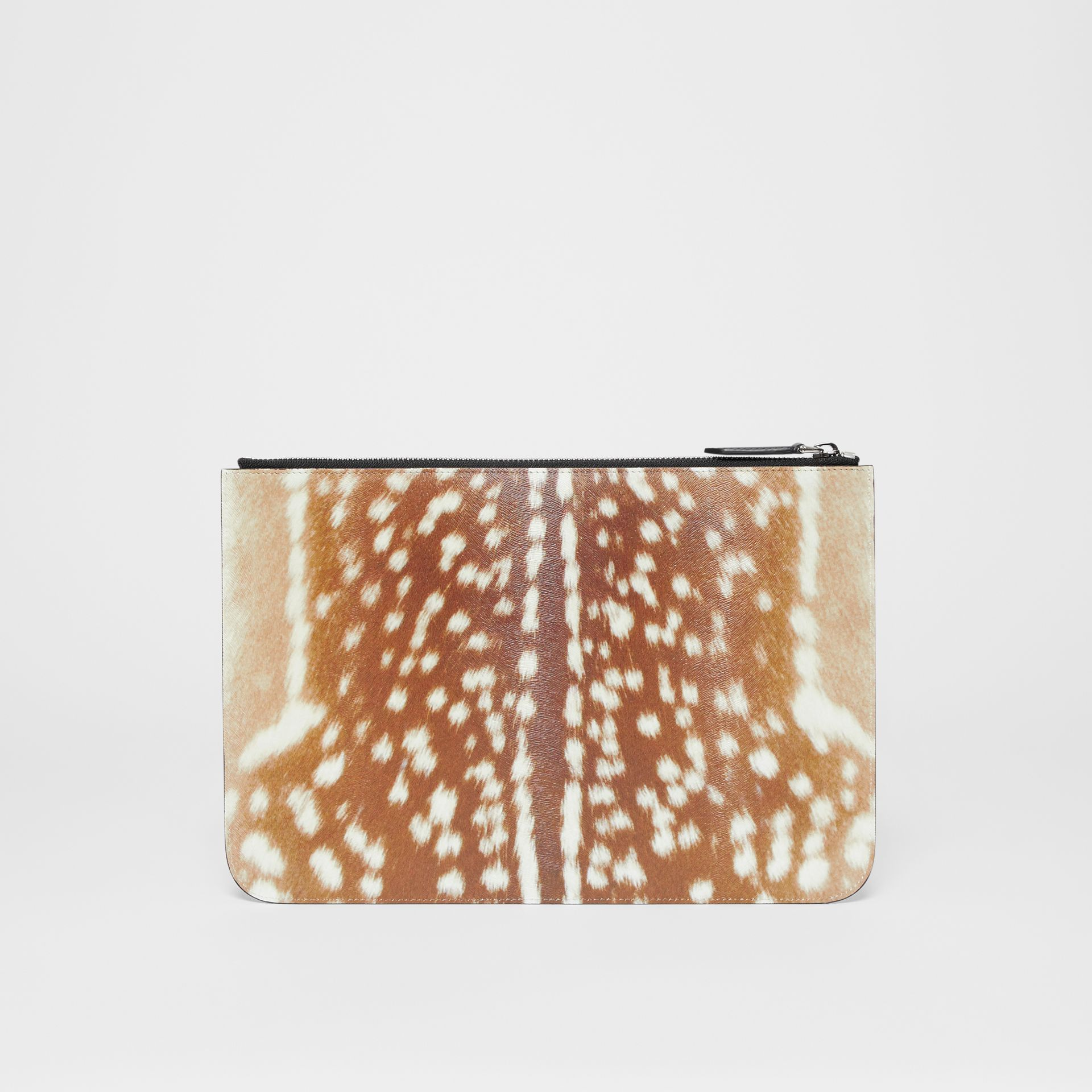 Deer Print Leather Zip Pouch in Tan | Burberry - gallery image 7