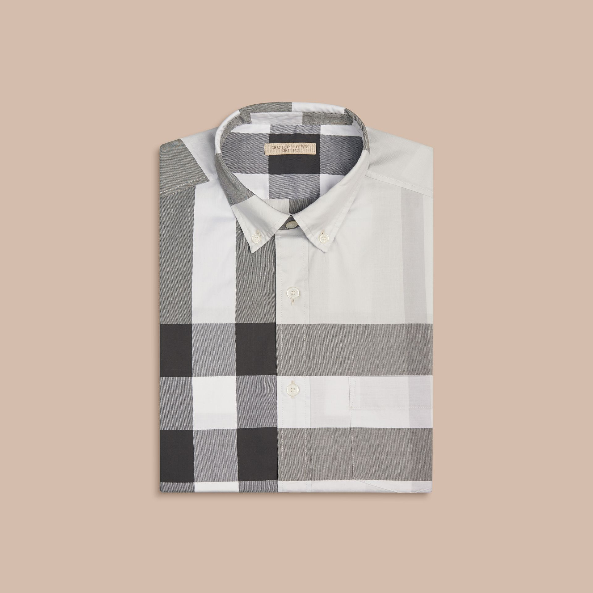 Pale stone Short-sleeved Check Cotton Shirt Pale Stone - gallery image 3