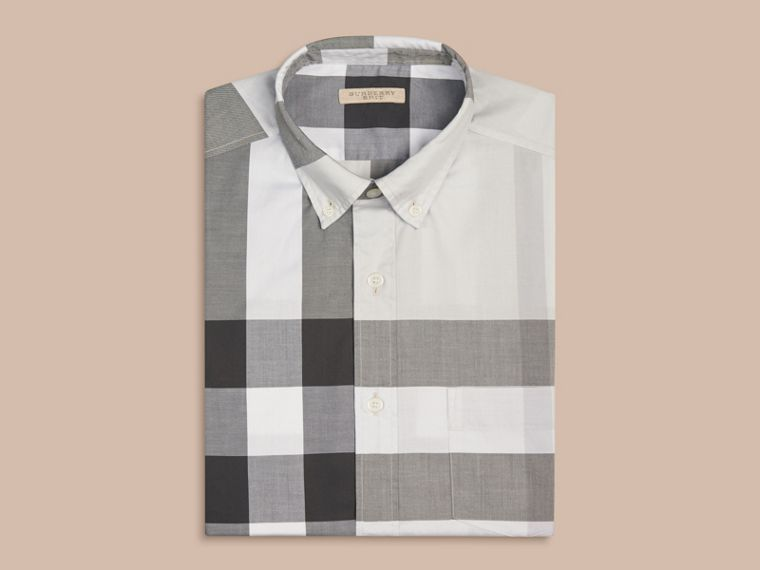 Pale stone Short-sleeved Check Cotton Shirt Pale Stone - cell image 2