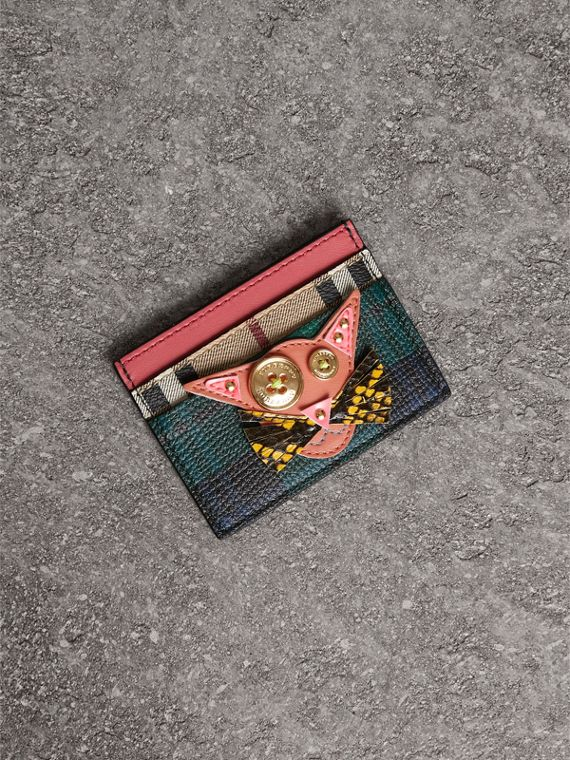 Cat Appliqué Leather and Haymarket Check Card Case in Bright Navy