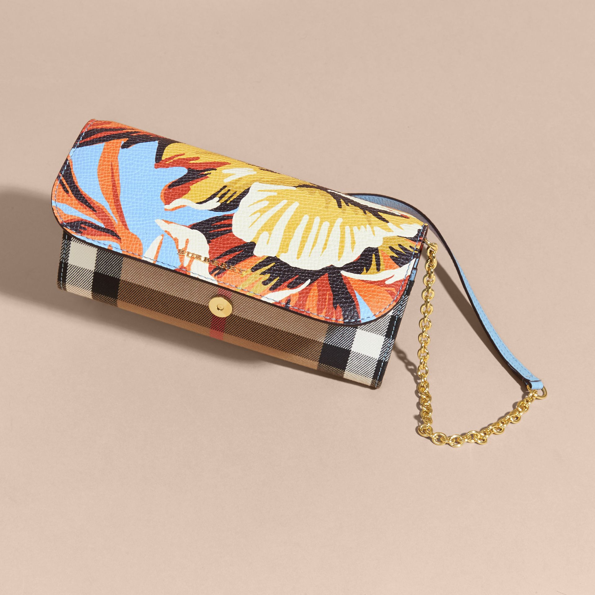 House Check and Peony Rose Print Wallet with Chain in Pale Blue/vibrant Orange - gallery image 7