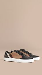 House Check and Studded Leather Sneakers