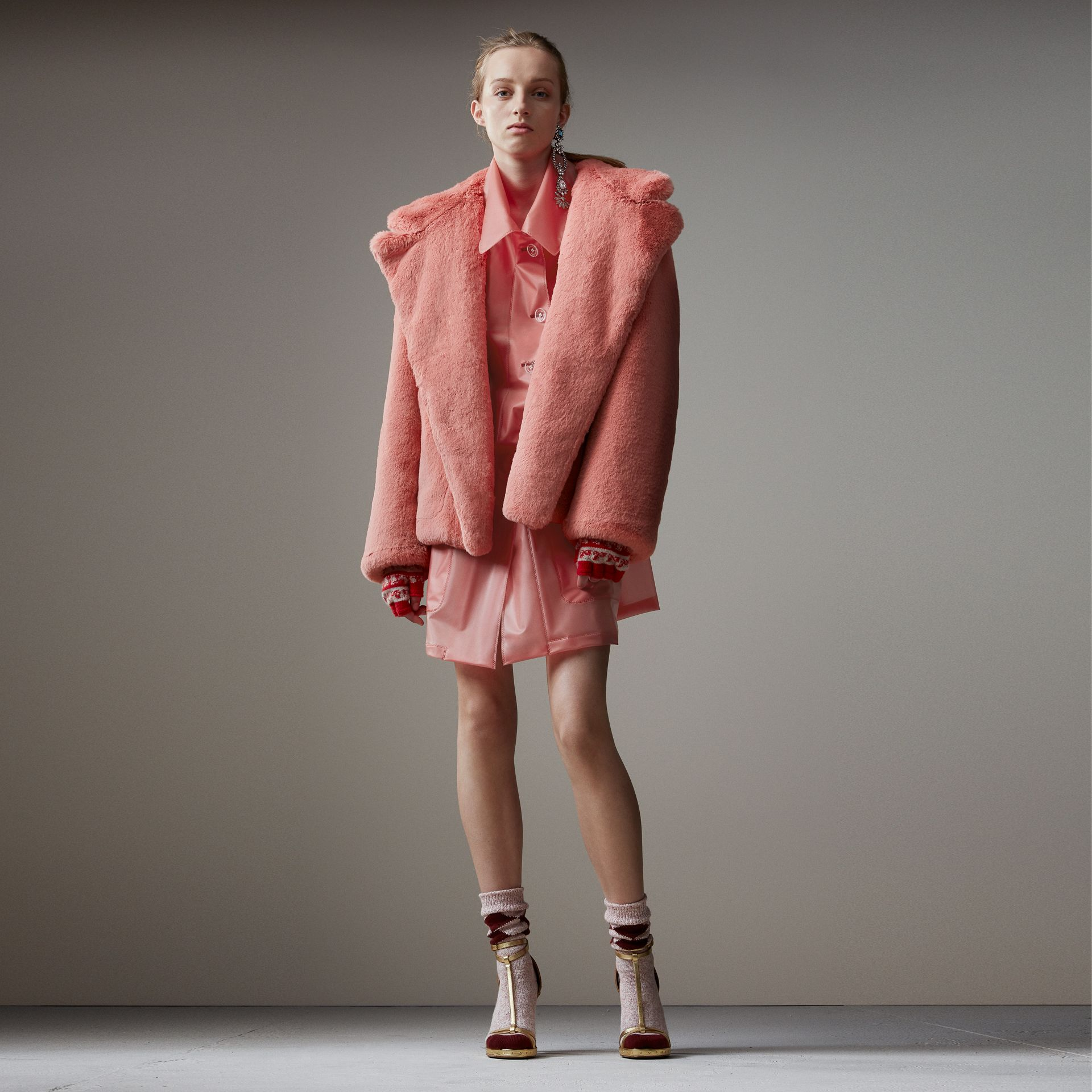 Faux Fur Hooded Jacket in Pale Pink - Women | Burberry Singapore - gallery image 0