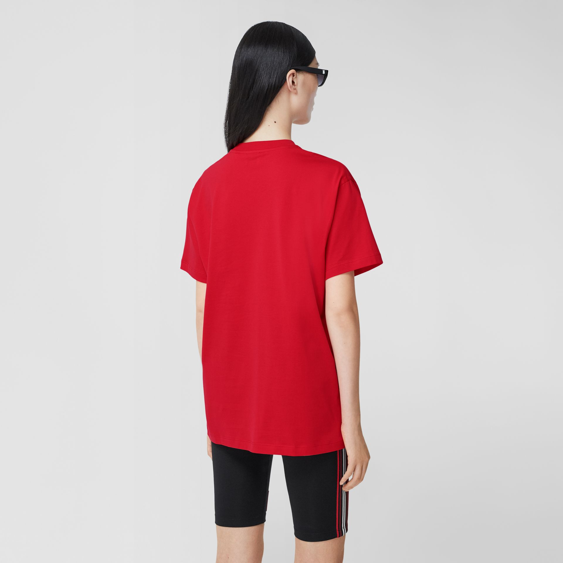 Monogram Motif Cotton Oversized T-shirt in Bright Red - Women | Burberry United Kingdom - gallery image 2