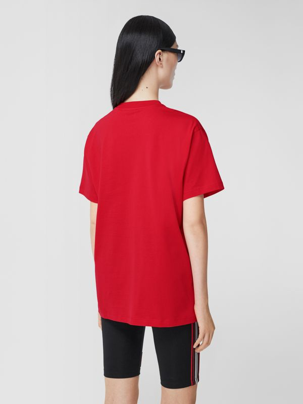Monogram Motif Cotton Oversized T-shirt in Bright Red - Women | Burberry United Kingdom - cell image 2